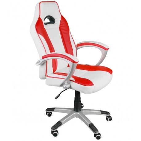 Fotel biurowy Caro biało-czerwony