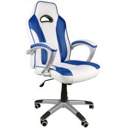 Fotel biurowy Caro biało-niebieski