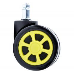 Role gumate pentru scaune de birou sport (5 arte) negru/galben