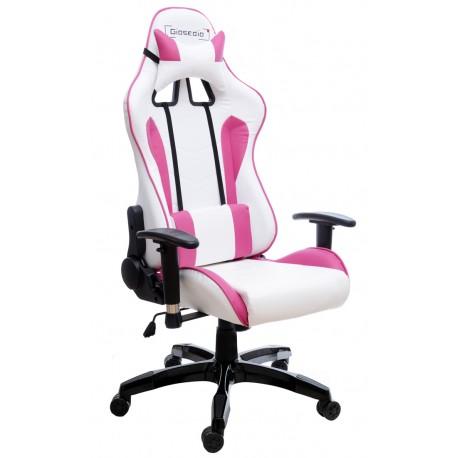Fotel gamingowy GSA biało-różowy