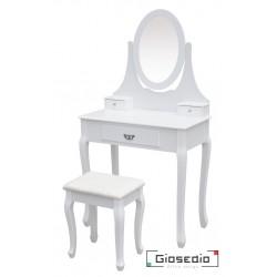 Toaletka kosmetyczna GIOSEDIO biała z lustrem + taboret,model DTW004