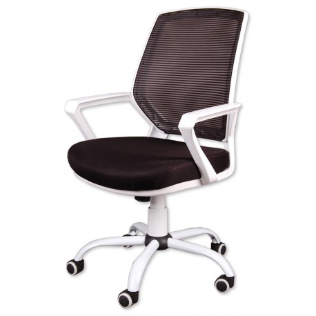 Fotel biurowy FBB czarno-biały z siatką