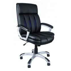 Fotel biurowy czarny z niebieską siatką FBA08
