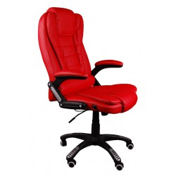 Fotel biurowy BRUNO czerwony z masażem